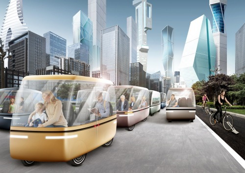 Self-driving pods and electrically assisted bike lane